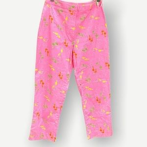 Lilly Pulitzer bright pink capris bird print Sz 4